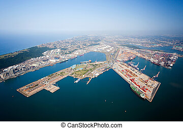 durban harbor, south africa - overhead view of durban...