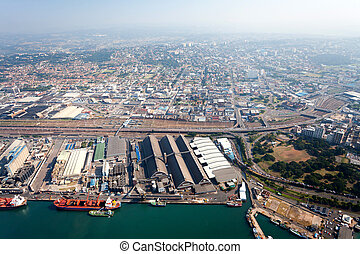 durban city downtown, south africa - aerial view of durban...
