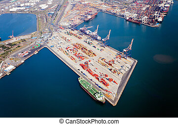 aerial view of durban harbour, south africa