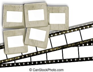 Design elements, retro blank film stripes and vintage stained blank slide photo frames   on white background
