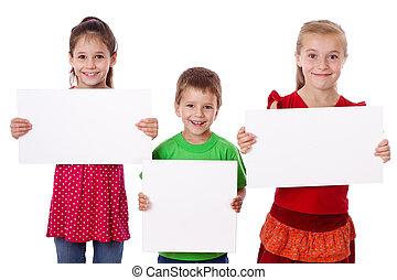 três, crianças, ficar, vazio, em branco