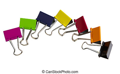 Binder Clips - Seven binder clips isolated on white...