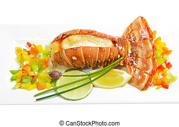Grilled Lobster - Grilled lobster tail with pepper, lemon...