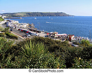 Summer in Plymouth - View of harbor in Plymouth. Cornwall in...
