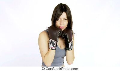 Medium shot of woman boxing - Sexy woman boxing fast