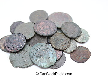 Ancient Roman Coins - Pile of ancient coins from the Roman...