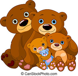 Bear family - Illustration of big bear family