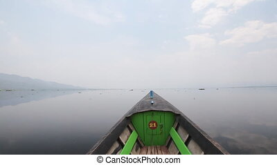 Boats on Inle lake , Myanmar - View from the boat