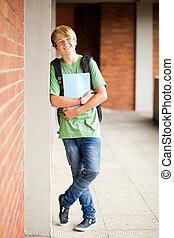 male high school student in school