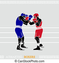 Athlete Boxers - Greek art stylized boxers at the boxing...