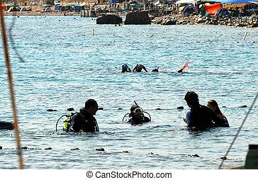 Sea Sport -Scuba Diving - Divers are ready to scuba dive in...
