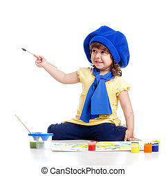 adorable artist kid girl drawing and painting