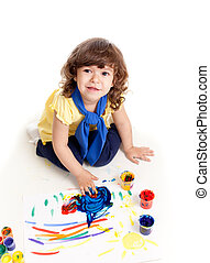 Cute artist kid drawing and painting Top view of girl