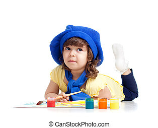 adorable artist kid drawing and painting