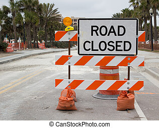 Road Closed Sign on Street Repair