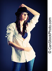 denim fashion - Shot of an attractive fashionable girl...