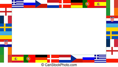 16 National flag Frame Pattern with white background