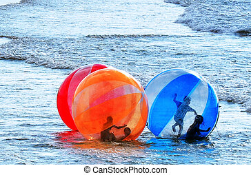 Sea Sport - Water Walking Ball - Israeli childrens having...