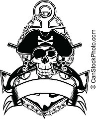 Anchor and skull - The vector image of piracy skull of an...