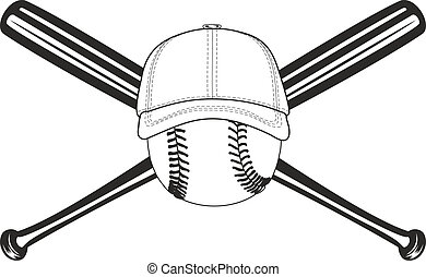 ball and crossed bats - The vector image of baseball ball...
