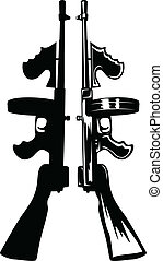 submachine gun - The vector image of the gangster submachine...