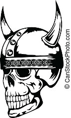 skull in helmet Vikings 3 - The vector image a skull in an...