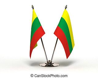 miniatura, bandeira, Lituânia, (Isolated)