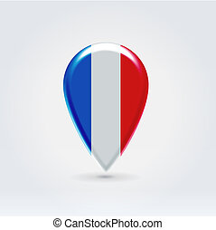 Geo location national point label - Glossy colorful France...