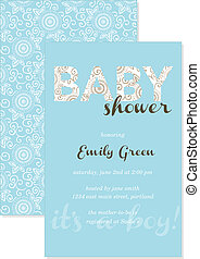 Vector Baby Shower Invitation. Easy to edit. Perfect for...
