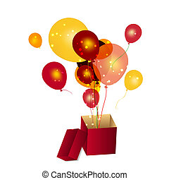 gift box with baloons vector illustration