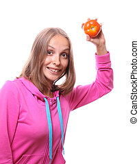 woman with a tomato, isolated on white