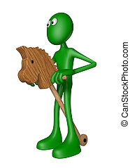 horse toy - green guy rides on horse toy - 3d illustration
