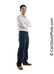 Full length of young Asian business man stand on white background.