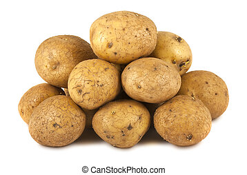 Bunch of raw potatoes isolated on white background