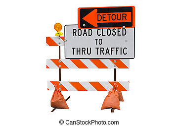 Road Closed Sign Isolated on White