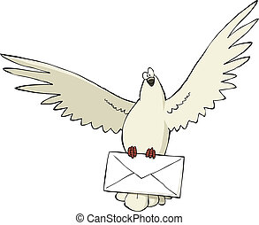 Pigeon - A pigeon with a letter vector illustration