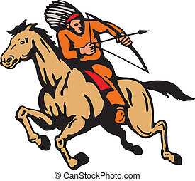 American Indian Riding Horse Bow And Arrow - Illustration of...