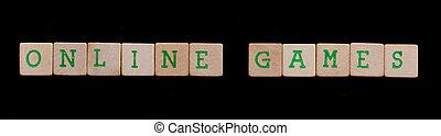 Green letters on old wooden blocks (online games)