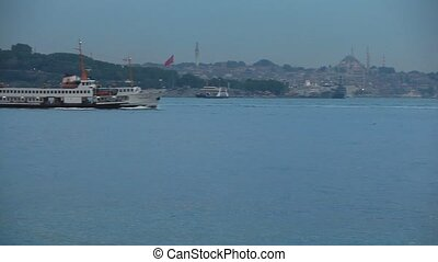 passenger ship - three passenger ship passing bosphorus