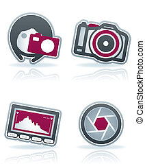 Photography Icons Set - Photography tools equipment icons...