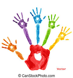 Colourful handprint paint on a white background
