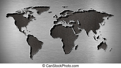 metal hole in world map shape