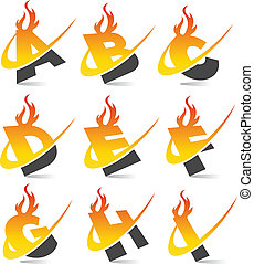 Swoosh Flame Alphabet Set 1 - Set of swoosh alphabet with...