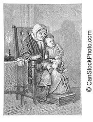 Grandma tell stories to her grandchildren - RUSSIA - CIRCA...