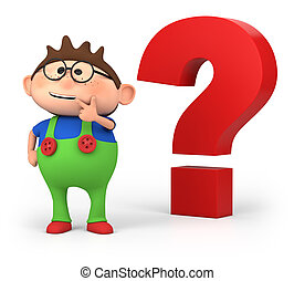 boy with questionmark - cute little cartoon boy with big...