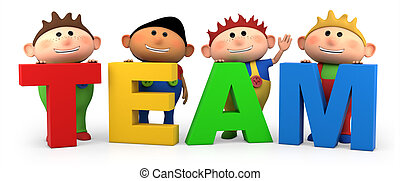 team boys - cute little cartoon boys with TEAM letters -...