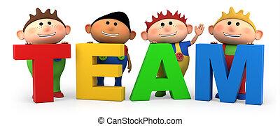 team boys - cute little cartoon boys with TEAM letters -...