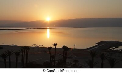 Sunrise at Dead Sea - Sunrise over Dead Sea Jordanian hills...