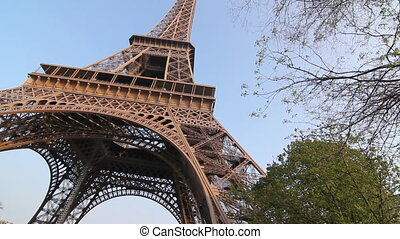 Eiffel Tower - Eiffel Tower with trees Springtime in Paris,...