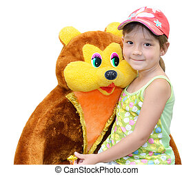 The Child and toy, on white background The Bear